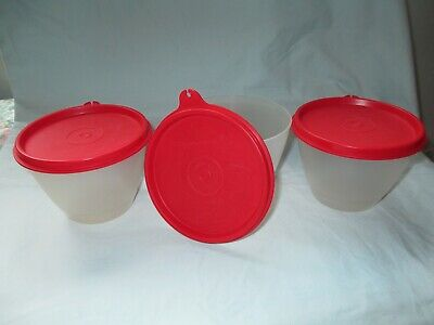3 Tupperware Sheer Wonderlier Refrigerator Bowls #148  w/Red #215 Lids  USA