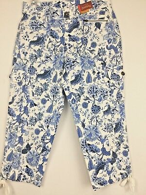 New FADED GLORY Women's Woven Cargo Capri Pants 4 White Blue Floral Zipper