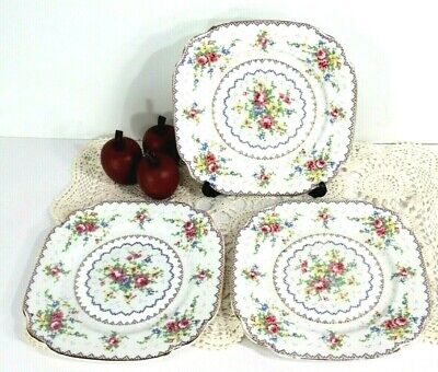 "LOT of 3 Royal Albert Petit Point 6 7/8"" Dessert Plates Fine China England MINT"