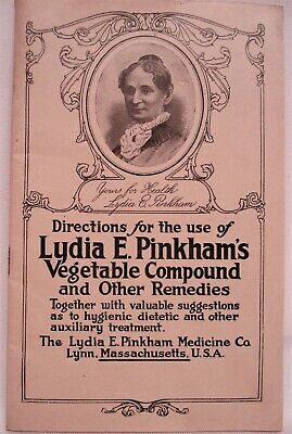 Early 1900'S Lydia E. Pinkhams Vegetable Medicine Remedy Booklet Pamphlet