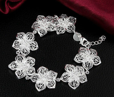 925 Silver Plated Bracelet Flower Wristband Top Bangle Charm Cool Jewelry Band