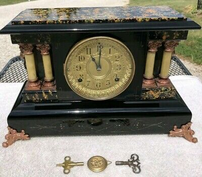 1890's ANTIQUE SETH THOMAS MANTEL SHELF CLOCK WORKING VINTAGE BEAUTIFUL