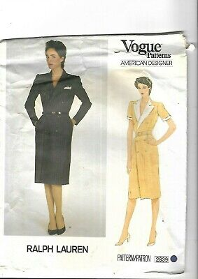 Vintage 1980's Sewing Pattern Vogue 2839 Ralph Lauren Double Breasted Dress 12