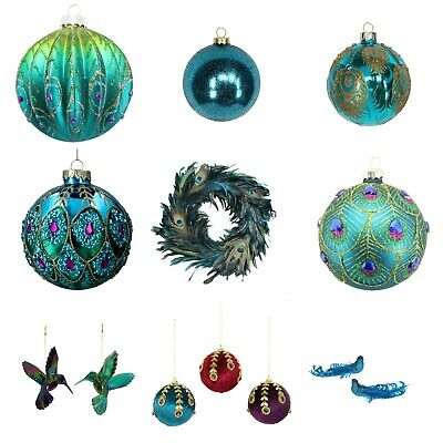 8cm Luxury Teal Irridescent PEACOCK Feather Design Round Glass Christmas Tree Bauble//Decoration