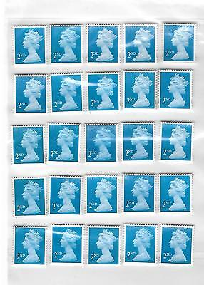 50 x 2nd Second Class BLUE Stamps Unfranked Off Paper EASY PEEL some with GUM #3
