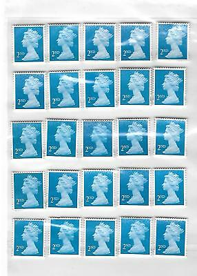 100 x 2nd Second Class BLUE Stamps Unfranked Off Paper EASY PEEL with some GUM .
