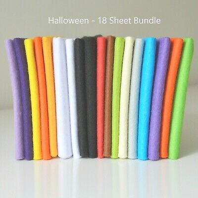 Halloween Felt | 18 Sheets | Soft Wool Mix Pack | Size Options