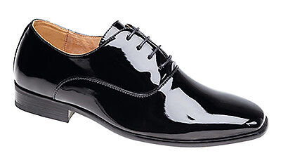 Mens Black Patent Leather Lined Formal Smart Wedding Laced Shoes BOX DAMAGED