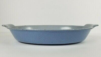 Prizer Ware Vintage Cast Iron Porcelain Small Oval Casserole Blue Gray