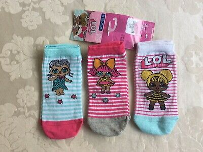 LOL Girls 3 Pairs of Trainer Socks Primark Age 7-10 Years/Size 12.5-3.5/ 30.5-36