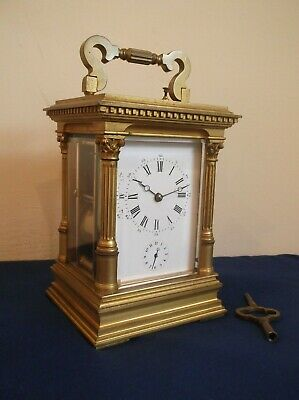 Antique Grande French 8 Day Repeater, & Alarm L`epee Carraige Clock In Vgc +