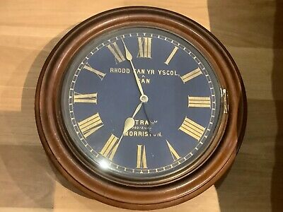 "Large 19"" Diameter Antique Welsh Wall Fusee Clock - 1900s"