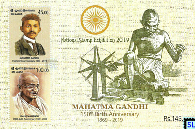 Sri Lanka Stamps 2019, National Stamp Exhibition, Mahatma Gandhi, India, MS