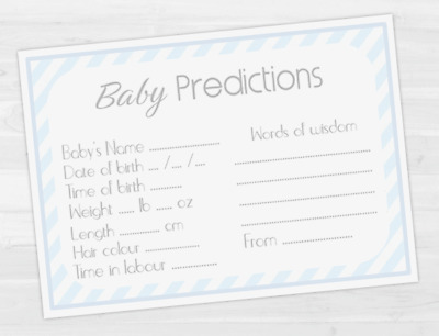 ✯ Baby Shower - Prediction Game & Advice Cards ✯ 10 cards ☆ BOY - BLUE  ✯