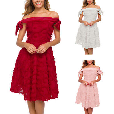 Women Off Shoulder Party Dress Feather Evening Wedding Bow Formal Cocktail Gowns