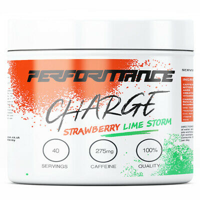 CHARGE - 40 Servings - STRONG Pre Workout BCAA Amino Energy Powder (Strawberry)