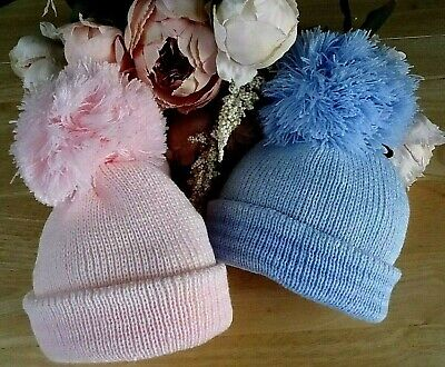 Baby Boy Girl Hat Pink Blue Double Knitted Adjustable Pom-Pom 0-3-6-12-18m