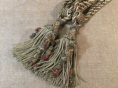 Pair 2 Antique French Tassels Silk Drapery Curtain Tie Backs Red Gold Green