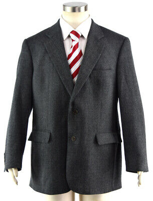 BROOKS BROTHERS 346 Gray Hopsack Flannel Wool 2-Btn. Sport Coat Jacket Men's 43R