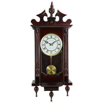 New Bedford Clock Collection Classic 31 Inch Chiming Pendulum Wall Clock in Cher
