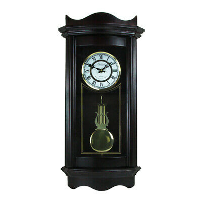 New Bedford Clock Collection 25 Inch Chiming Pendulum Wall Clock in Weathered Ch