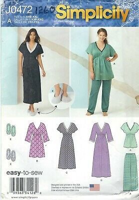 Simplicity 1260 Misses' Nightgown, Pajamas and Slippers    Sewing Pattern