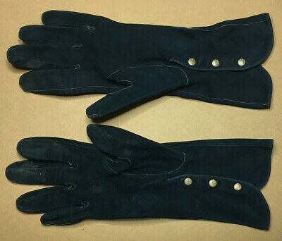 Vintage FRENCH Ladies SUEDE GLOVES Size M 1950's GOOD #6