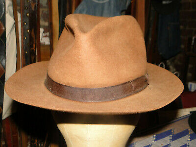 Vintage  Brown Felt Fedora Hat  Hats Size 7