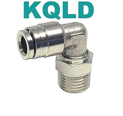 Brass Push To Connect Swivel Male Elbow One Touch Fitting 1/4 OD x 1/4 NPT, 5 pc