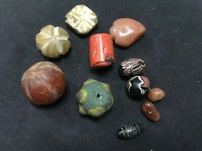 Rare ancient Phoenician glass bead group Agate Roman Carnelian Engrave Wood #N1