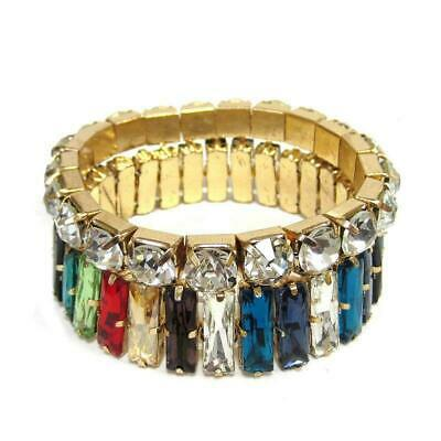 2 Piece Multi Color Baguette and Clear Stone and Gold Accent Stretch Bracelets (