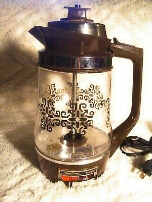 Vintage Mary Proctor Silex Glass Percolator Light-Up Black Geometric Coffee Pot