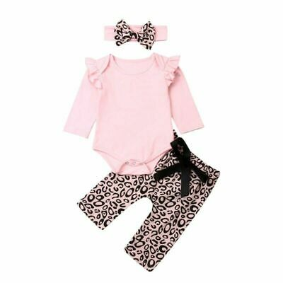 Newborn Baby Girls Clothes Long Sleeve Tops With Designed Leopard Pant Headband
