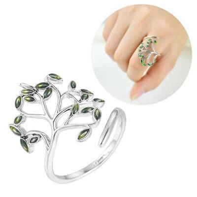 Fashion Women Silver Plated Jewelry Olive Green Leaf Open Finger Ring Adjustable