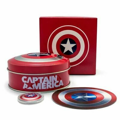2019 Fiji $1 Captain America 10g Silver Proof Domed Shield Coin & Collectors Tin