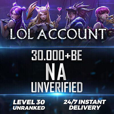League of Legends Account NA LOL Smurf 30.000 - 40.000 BE IP Unranked Level 30