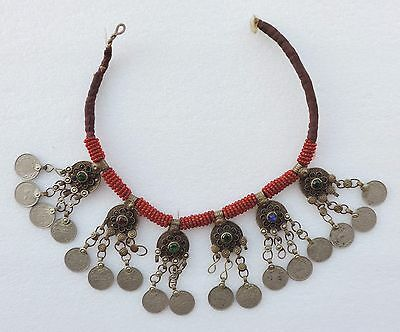 Antique Gorgeous Ethnic Afghan Tribal Hand Made Necklace Glass Inlaid.