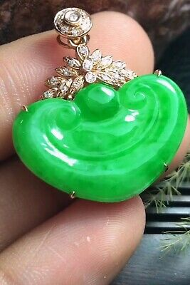 79.5mm 100% Natural Grade A Blue Green Jade Jadeite Pendant HandCarved Guan yin