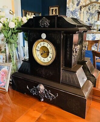 Large Edwardian French Black Marble 8 day architectural clock