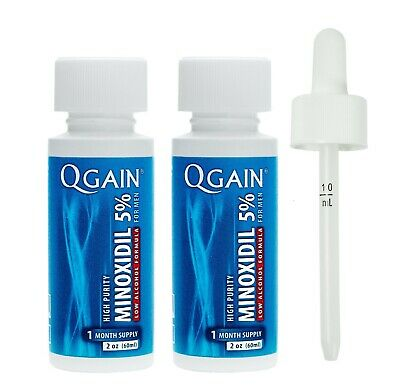 Qgain High Purity Minoxidil 5% for MEN LOW ALCOHOL FORMULA 2 month supply