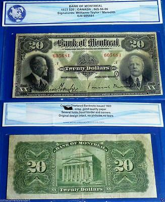 BANK OF MONTREAL $20 1923  / Large Canada Banknote
