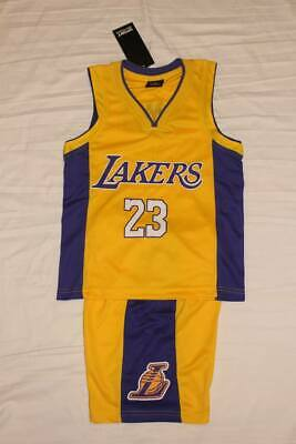 Lebron James #23 LA Lakers Kids Basketball Jersey Shorts Set Gold US Seller!
