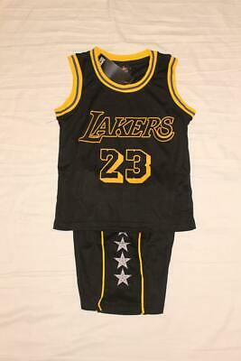 Lebron James #23 LA Lakers Kids Basketball Jersey Shorts Set Black US Seller!