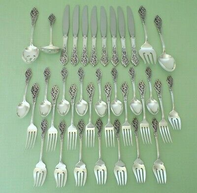 Beautiful Reed & Barton Sterling Silver Florentine Lace 36 Piece Flatware Set