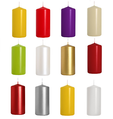 Pack of 8 Pillar Candles - 11 colours to choose from - Best Value - UK Stock