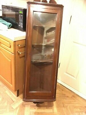 Antique mahogany tall glazed glass Wall Hanging Corner display Cabinet cupboard