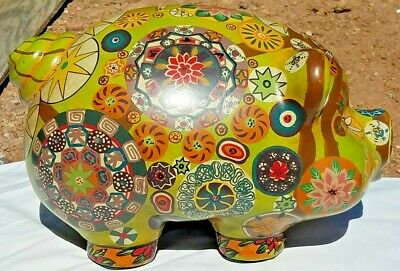 """Awesome Mexican Painted Large Ceramic Hippie Flower Piggy Bank 11"""" x 7"""""""
