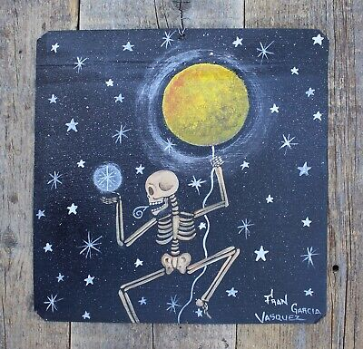 Tin Painting Retablo Day of the Dead Skeleton with Moon & Stars Mexican Folk Art