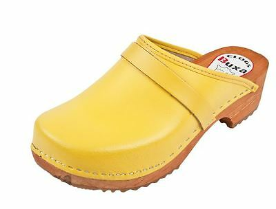 Wooden medical leather clogs FPU11 White color   US Shoe Size  Men