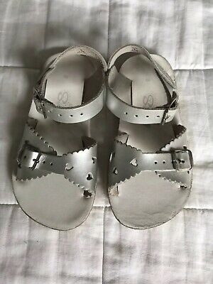 Girls Sun San Sweet Silver Leather Sandals Shoes Size Infant 8